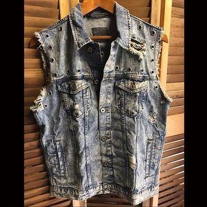 Zara Men's Destroyed Denim Vest Medium